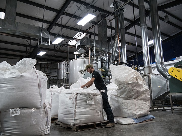Yann Raymond checks bags of malt barley that's processed and ready for brewers. (Photo by Jordan Evans/Cronkite News)