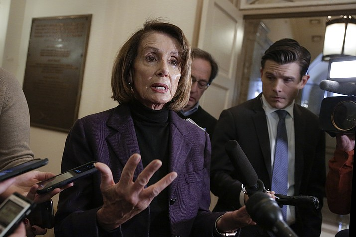"""In this Friday, Jan. 18, 2019, file photo, Speaker of the House Nancy Pelosi, D-Calif., takes questions from reporters on Capitol Hill in Washington. Pelosi is laying out her strategy on health care and first up is improvements to """"Obamacare"""" and legislation to lower prescription drug costs. (AP Photo/J. Scott Applewhite, File)"""