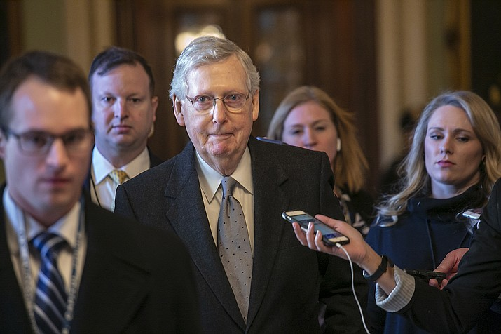 Senate Majority Leader Mitch McConnell, R-Ky., leaves the chamber after speaking about his plan to move a 1,300-page spending measure, which includes $5.7 billion to fund President Donald Trump's proposed wall along the U.S.-Mexico border, the sticking point in the standoff between Trump and Democrats that has led to a partial government shutdown, at the Capitol in Washington, Tuesday, Jan. 22, 2019. (J. Scott Applewhite/AP)
