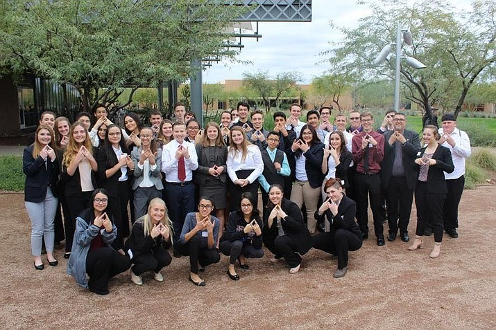 Bradshaw Mountain High School's 41 DECA members pose in Phoenix before a competition. (Courtesy)