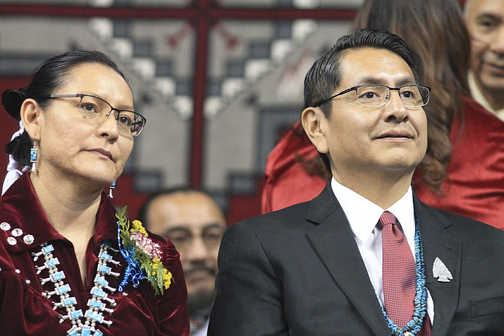 Navajo Nation President Jonathan Nez and First Lady Phefelia Herbert Nez listen intently during the inauguration ceremonies Jan. 15 in Fort Defiance, Arizona. (Loretta Yerian/WGCN)