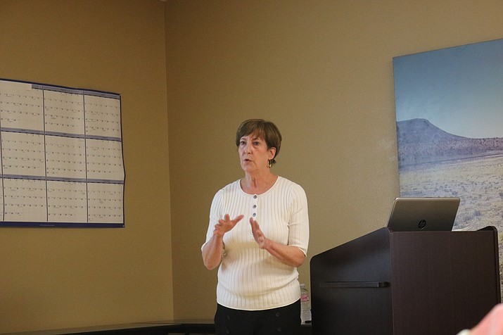 Mary Bosch of Marketek, Inc., who joined representatives of Chabin Concepts in Kingman in October, spoke on economic development in the City, specifically downtown. (Daily Miner file photo)