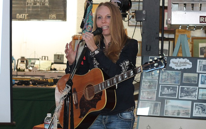 Meagan Gipson shares songs of her family's experiences as early settlers and entrepreneurs at the Grand Canyon Jan. 18 at the Ash Fork Route 66 Museum. (Erin Ford/WGCN)