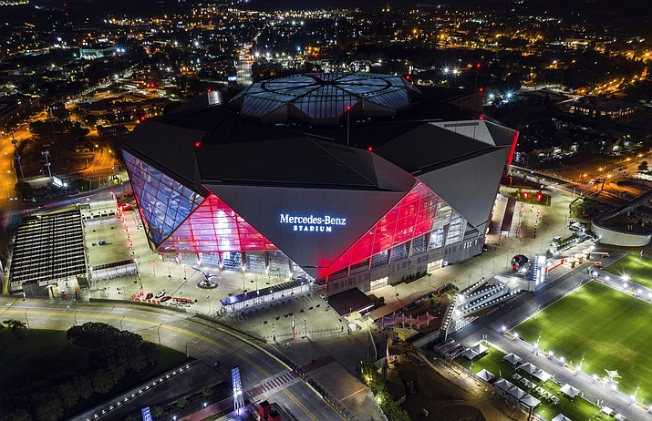 This is a Sept. 21, 2018, file photo showing Mercedes-Benz Stadium in Atlanta. Build it and the Super Bowl will come. While that's not exactly how the sites of the NFL's championship extravaganza are determined, it sure doesn't hurt to have a brand new, billion-dollar facility in your city. (Danny Karnik/AP, file)