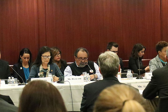 Besides Rep. Raul Grijalva, D-Phoenix, the meeting on the government shutdown's affect on Indian Country was attended by Rep. Deb Haaland, D-New Mexico, left, one of the first two Native American women elected to Congress. (Photo by Keerthi Vedantam/Cronkite News)