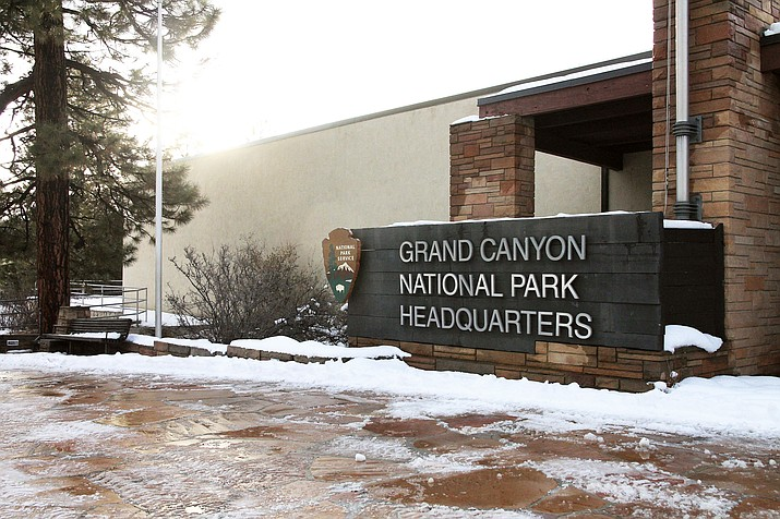 Doors remain closed at Grand Canyon National Park Headquarters on the South Rim as a federal government shutdown begins its fifth week. The shutdown is currently the longest running shutdown in U.S. history as Democrats and Republicans remain divided on a budget and funding for the construction of a border wall between Mexico and the United States. (Loretta Yerian/WGCN)