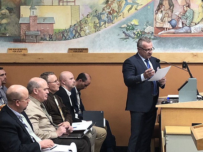 Prescott City Attorney Jon Paladini reports to the City Council on a recent economic impact analysis on the planned new Hilton Garden Inn hotel in downtown Prescott on Tuesday, Jan. 22. (Cindy Barks/Courier)