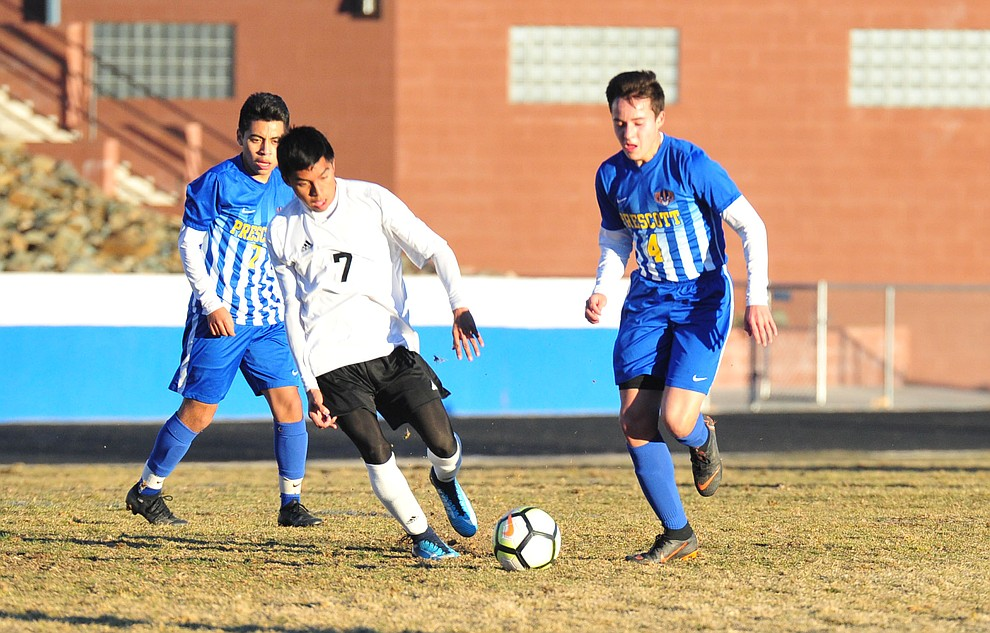 Prescott's Blaine Begley brings the ball upfield as the Badgers take on the Coconino Panthers Wednesday, Jan. 23, 2019 in Prescott. (Les Stukenberg/Courier).