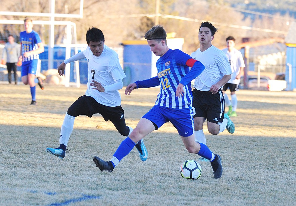 Prescott's Baryden Nelson drives the ball upfield as the Badgers take on the Coconino Panthers Wednesday, Jan. 23, 2019 in Prescott. (Les Stukenberg/Courier).