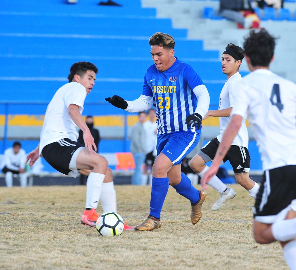 Prescott's Bryant Chavira drives towards the goal as the Badgers take on the Coconino Panthers Wednesday, Jan. 23, 2019 in Prescott. (Les Stukenberg/Courier).
