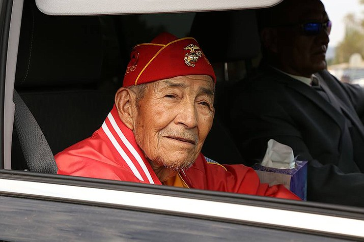 A photo of Navajo Code Talker Alfred K. Newman taken during the parade on Navajo Code Talkers Day last August. (Office of the Navajo Nation President and Vice President)