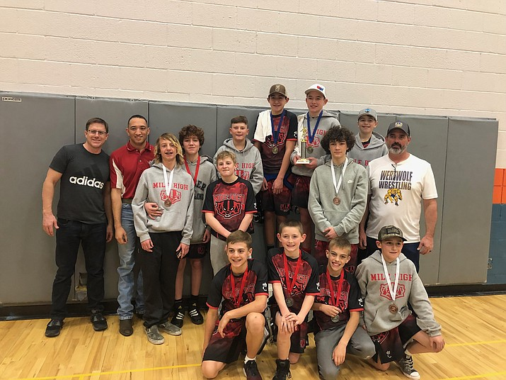 The Prescott Mile High Middle School wrestling team poses for a photo after taking first overall at the Northern Arizona Finals event Jan. 11, 2019, in Chino Valley. (Courtesy)