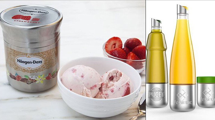 Nestle's stainless steel Häagan-Dazs ice cream container, left, and Lesieur's stainless steel vegetable oils are designed for use with Loop. The new shopping platform announced at the World Economic Forum aims to change the way people buy many products, from food to personal-care and home products. Loop would do away with disposable containers for some name-brand products, including some shampoos and laundry detergents. (Chris Crane/TerraCycle via AP)