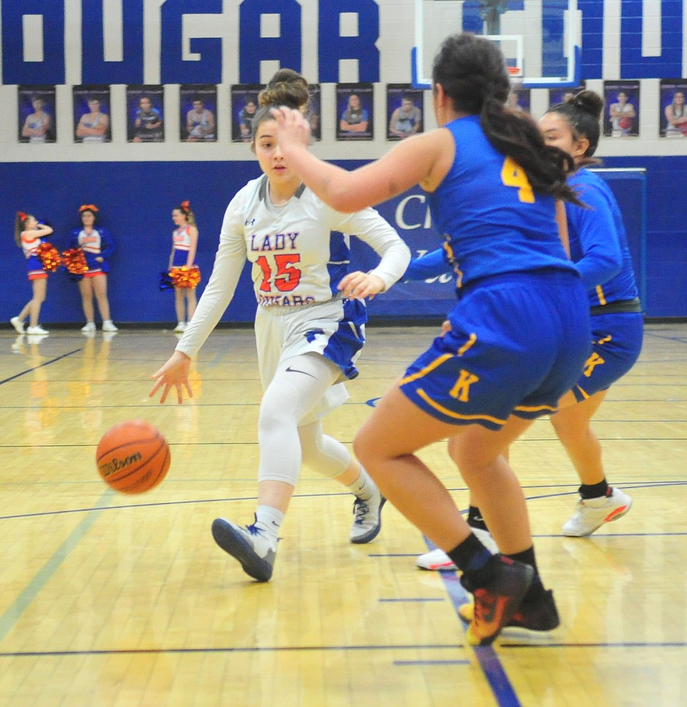 Chino Valley's Melissa Soto drives as they face the Kingman Bulldogs Thursday, Jan. 24, 2019 in Chino Valley. (Les Stukenberg/Courier).
