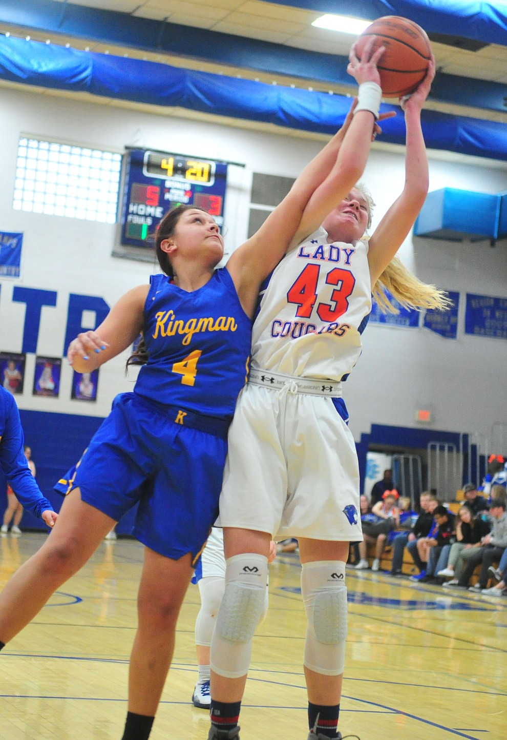 Chino Valley's Shayne Andrews gets fouled while shooting as they face the Kingman Bulldogs Thursday, Jan. 24, 2019 in Chino Valley. (Les Stukenberg/Courier).