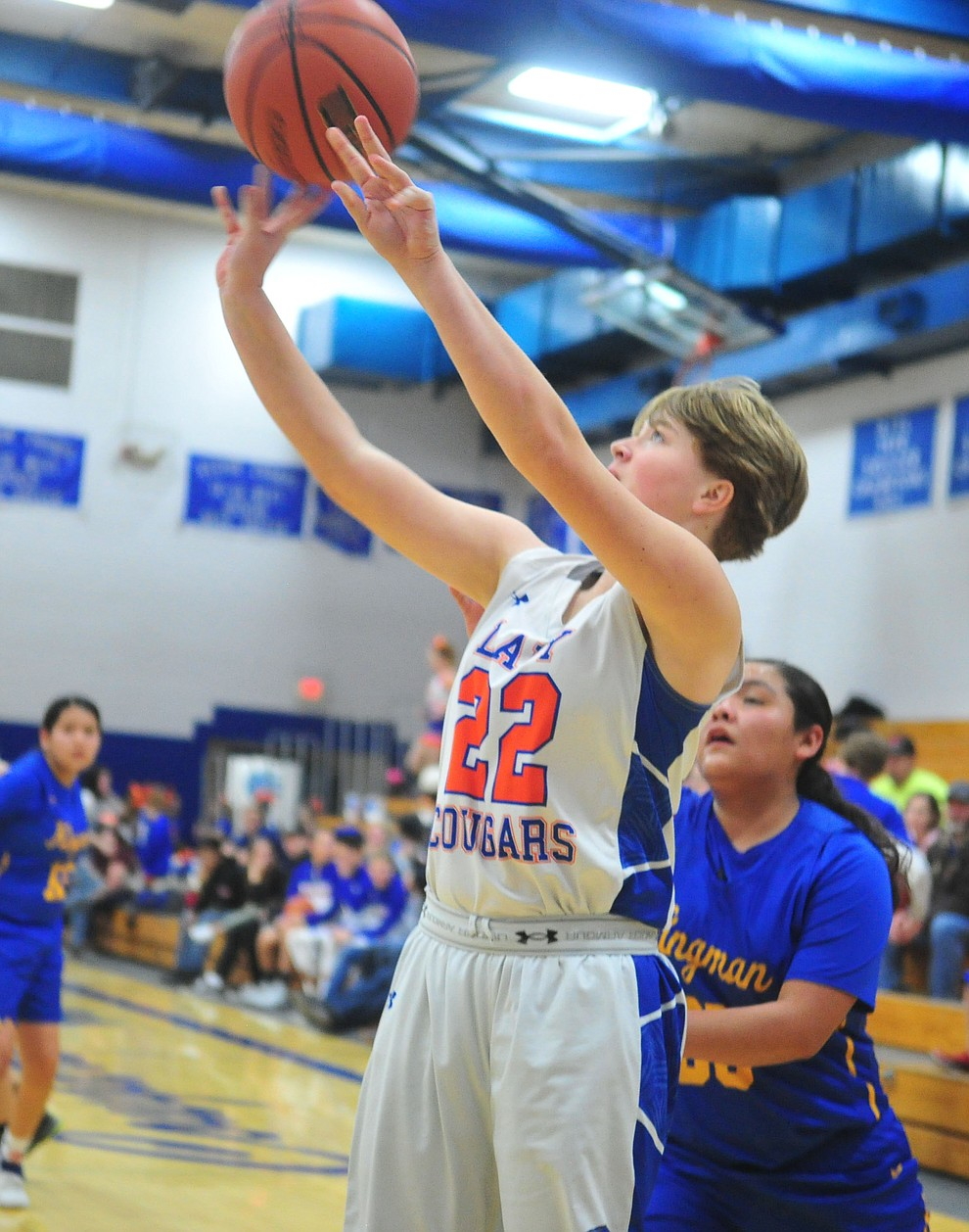 Chino Valley's Shyla Moseley takes a shot as they face the Kingman Bulldogs Thursday, Jan. 24, 2019 in Chino Valley. (Les Stukenberg/Courier).