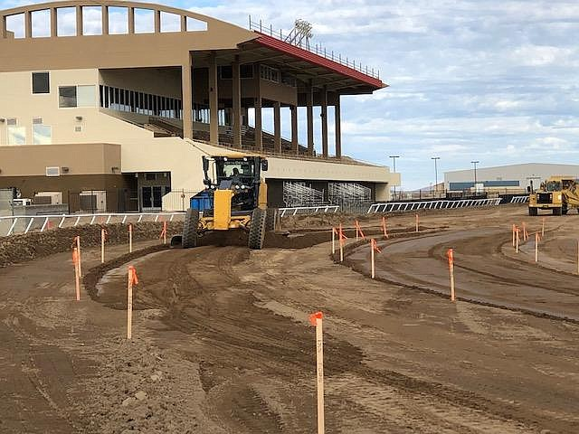 A grader rests in front of the grandstand at Arizona Downs. (Arizona Downs/Courtesy)