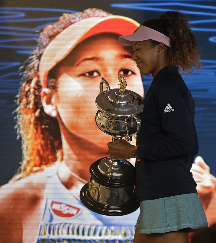 Japan's Naomi Osaka answers questions at a press conference after defeating Petra Kvitova of the Czech Republic in the women's singles final at the Australian Open tennis championships in Melbourne, Australia, early Sunday, Jan. 27, 2019. (Mark Schiefelbein/AP)