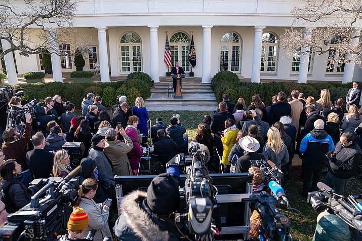 President Donald J. Trump delivers remarks on the government shutdown Friday, Jan. 25, 2019, in the Rose Garden. President Donald Trump announced that a deal has been made to reopen the government for three weeks. (Official White House Photo by Tia Dufour)
