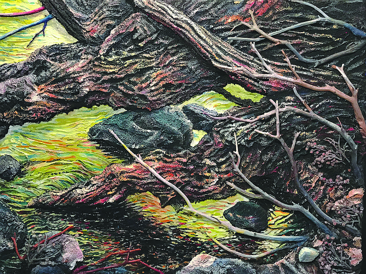 """Crazy Glade"" 18""H x 24"" x 4.75"" Acrylic and Mixed Media on Canvas, Sharron Vincent Porte"