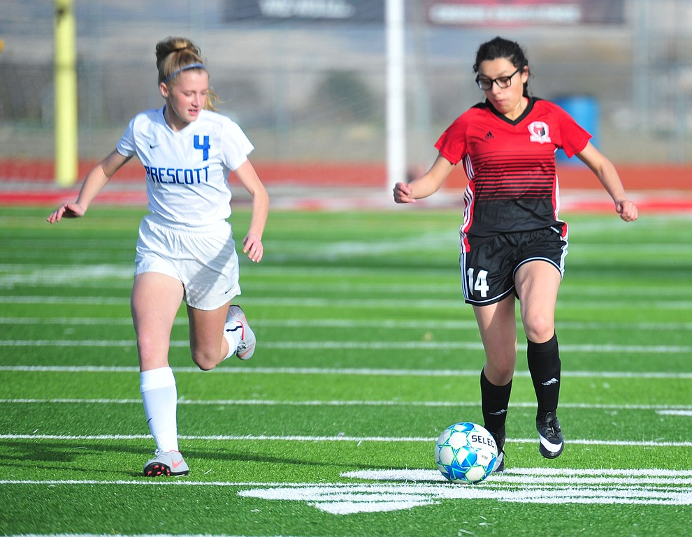 Bradshaw Mountain's Alexa Medina drives the ball upfield as the Bears play the Prescott Badgers Tuesday, Jan. 29, 2019 in Prescott Valley. (Les Stukenberg/Courier).