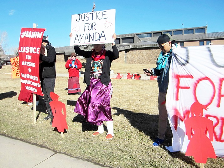 Supporters demand justice Jan. 22 for Amanda Webster  and missing and murdered indigenous women on the lawn of Flagstaff City Hall.  (Katherine Locke/NHO)