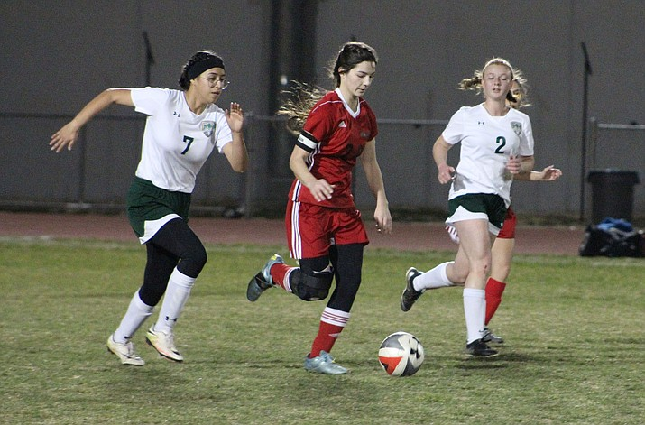 Sadie Serrano and the Lady Vols came up short Tuesday night in a 2-1 setback to Mohave. (Photo by Beau Bearden/Daily Miner)