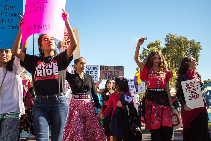 Men and women who attended the Women's March in Phoenix marched in memory of indigenous women who are missing or have been murdered. (Photo by Melina Zuniga/Cronkite News)
