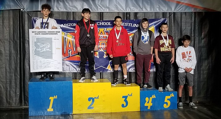 Camp Verde's Brody Townsend won the middle school 88-pound state championship. Photo courtesy Larry Allred