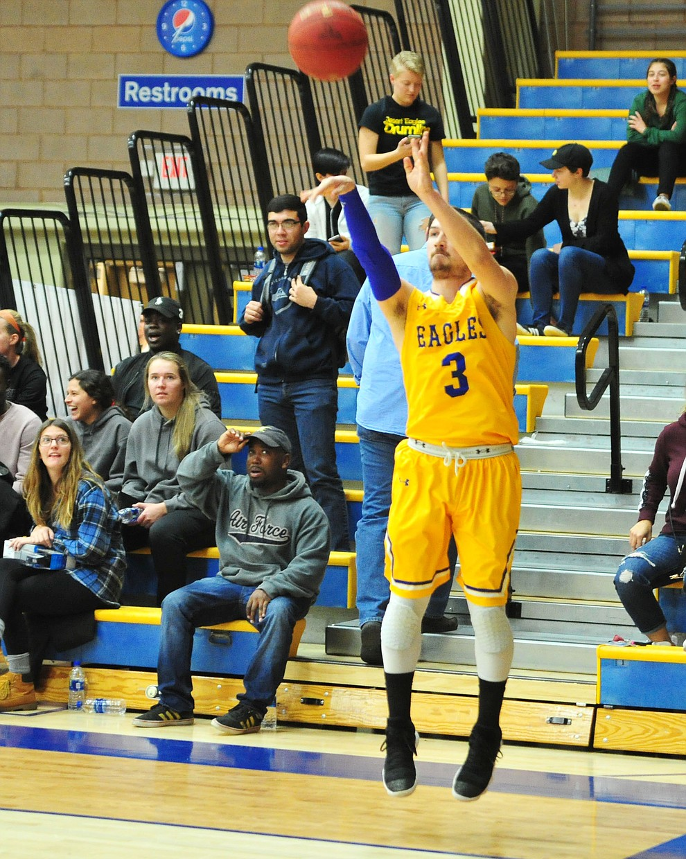 Embry Riddle's Ryan Skurdal launches a three-pointer as the Eagles take on the Simpson University Redhawks Thursday, Jan. 31, 2019 in Prescott. (Les Stukenberg/Courier).