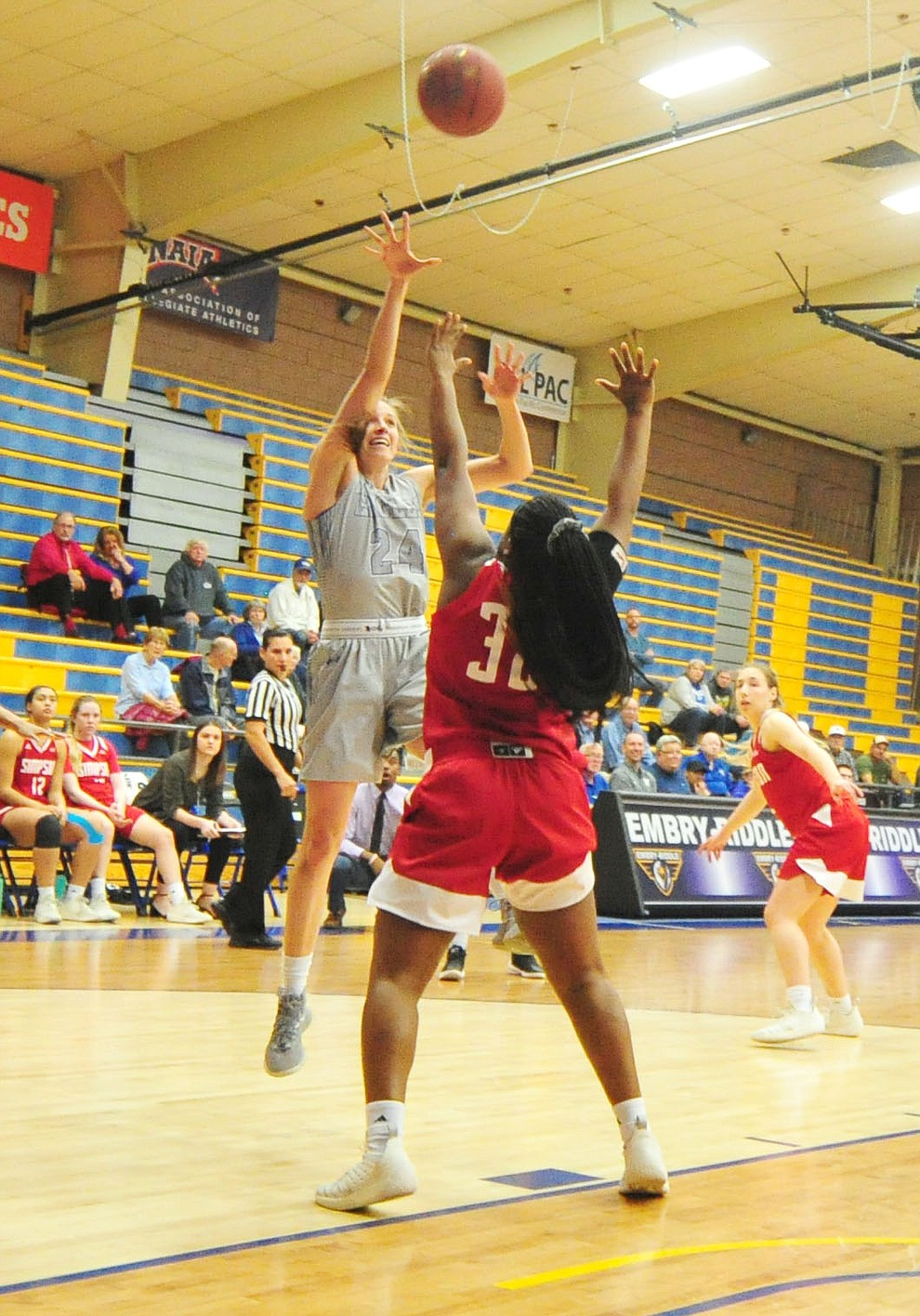 Embry Riddle's Melissa Pfeifer goes up high for two-points as the Eagles take on the Simpson University Redhawks Thursday, Jan. 31, 2019 in Prescott. (Les Stukenberg/Courier).
