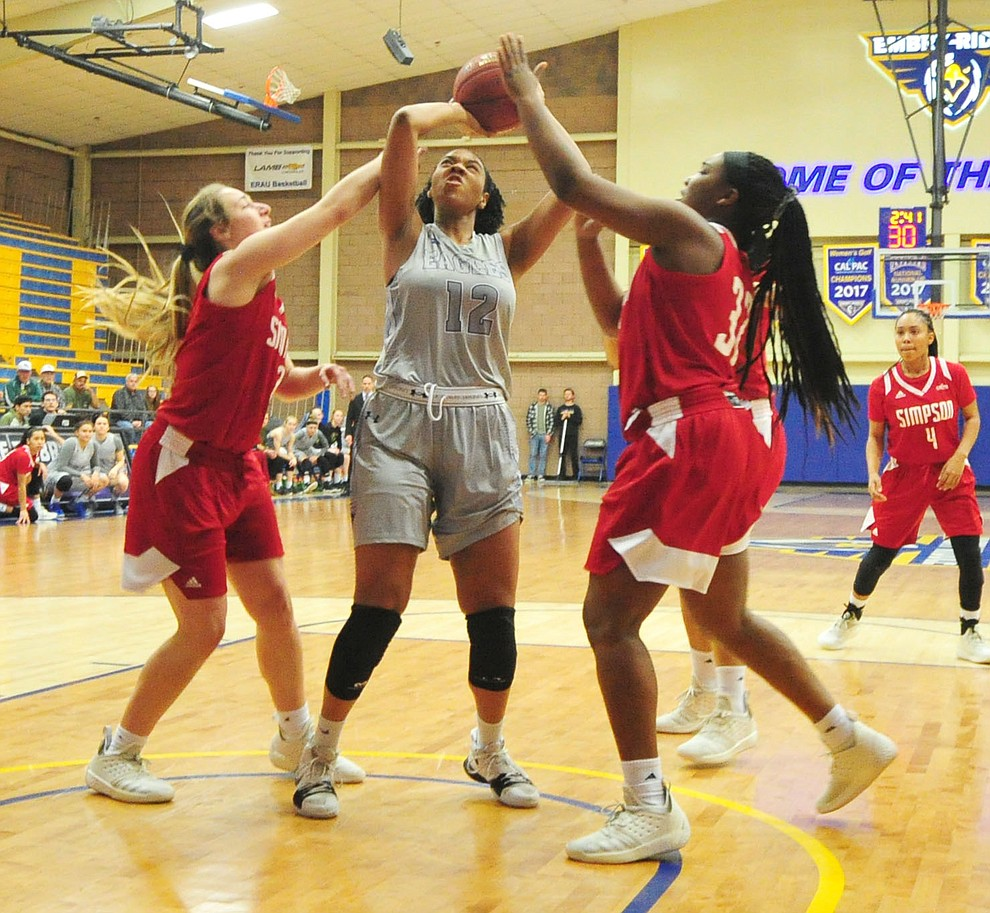 Embry Riddle's Allese Williams gets a shot off in the paint as the Eagles take on the Simpson University Redhawks Thursday, Jan. 31, 2019 in Prescott. (Les Stukenberg/Courier).