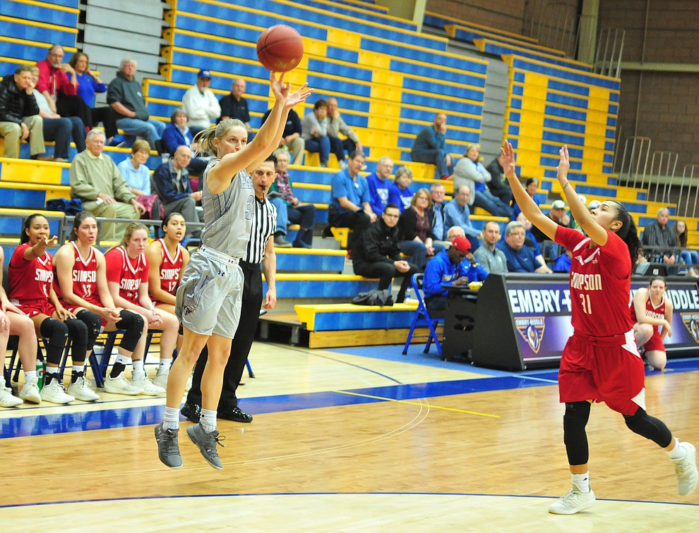 Embry Riddle's Jenna Knudson takes and makes a three-pointer as the Eagles take on the Simpson University Redhawks Thursday, Jan. 31, 2019 in Prescott. (Les Stukenberg/Courier).
