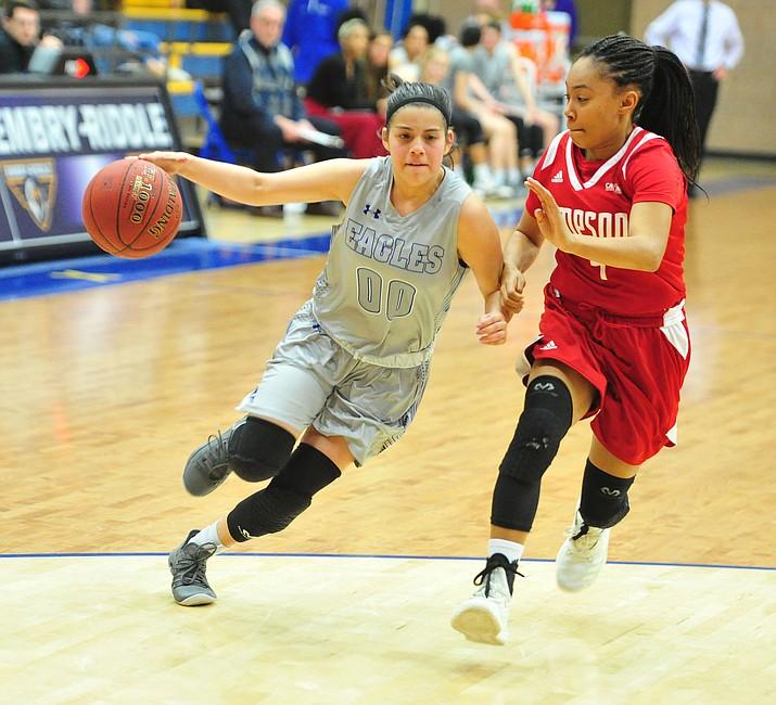 Embry Riddle's Haley Villegas drives to the basket as the Eagles take on the Simpson University Redhawks Thursday, Jan. 31, 2019 in Prescott. (Les Stukenberg/Courier)