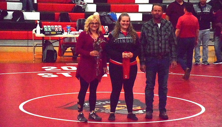 Mingus senior Danni Schulz with her family during the Marauders' Senior Night ceremonies. VVN/James Kelley