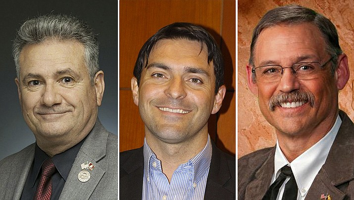 Sen. Sonny Borrelli, R-Lake Havasu City, Rep. Leo Biasiucci, R-Lake Havasu City, and Rep. Mark Finchum R-Tucson posed Senate Bill 1158 this month. (Courtesy photos)