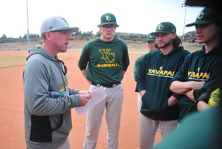 Yavapai College baseball head coach Ryan Cougill talks to players at practice Tuesday, Jan. 29, 2019, in Prescott. (Les Stukenberg/Courier)