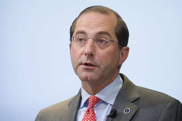 In this Oct. 26, 2018, file photo Health and Human Services Secretary Alex Azar speaks about proposed reforms to Medicare Part B drug pricing policies at the Brookings Institute in Washington. The Trump administration says it is moving ahead with a plan to let patients directly receive prescription drug discounts negotiated behind-the-scenes between drugmakers, middlemen, and insurers. Azar said Thursday, Jan. 31, 2019, the proposed regulation would encourage the major industry players to channel any such discounts to consumers when they purchase their prescriptions. (AP Photo/Alex Brandon, File)