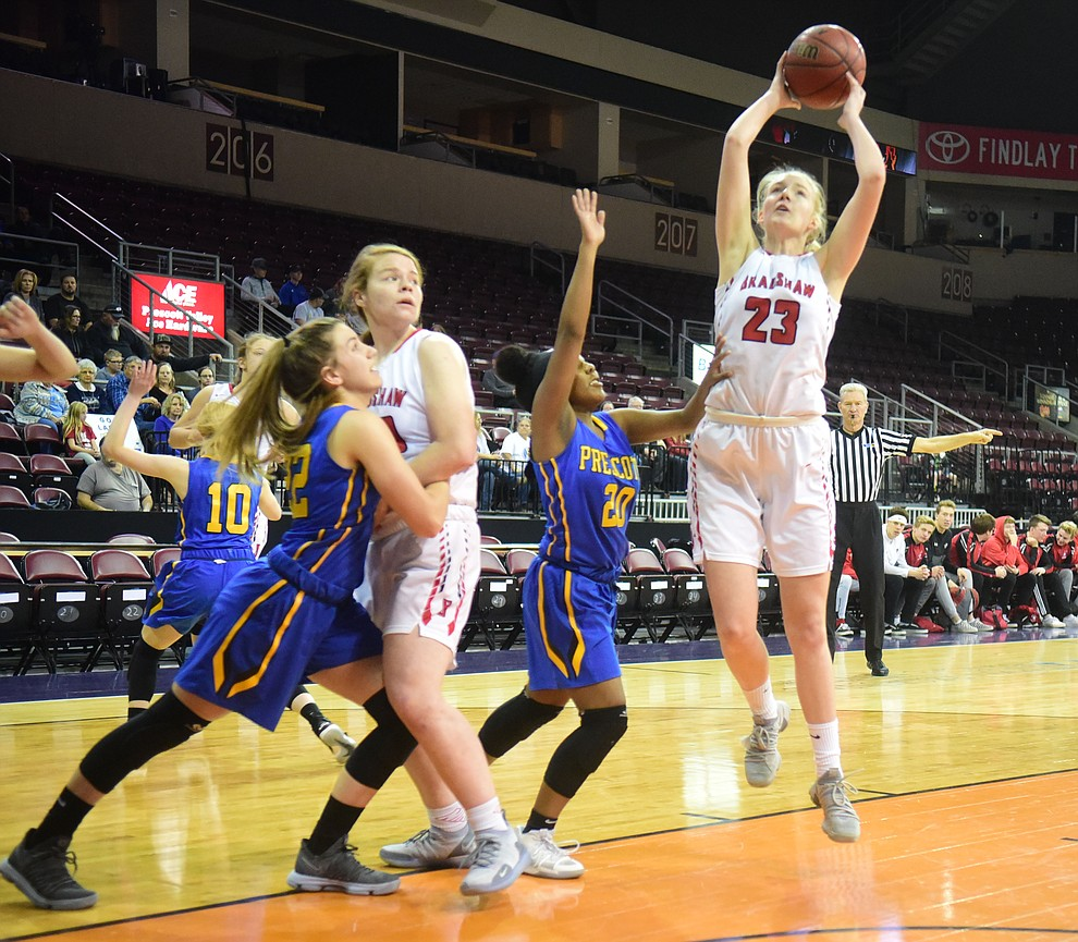 Bradshaw Mountain's Rylee Bundrick gets an open look in the lane as the Bears play cross-town rival Prescott at the Findlay Toyota Center in Prescott Valley Saturday, Feb. 2, 2019. (Les Stukenberg/Courier).