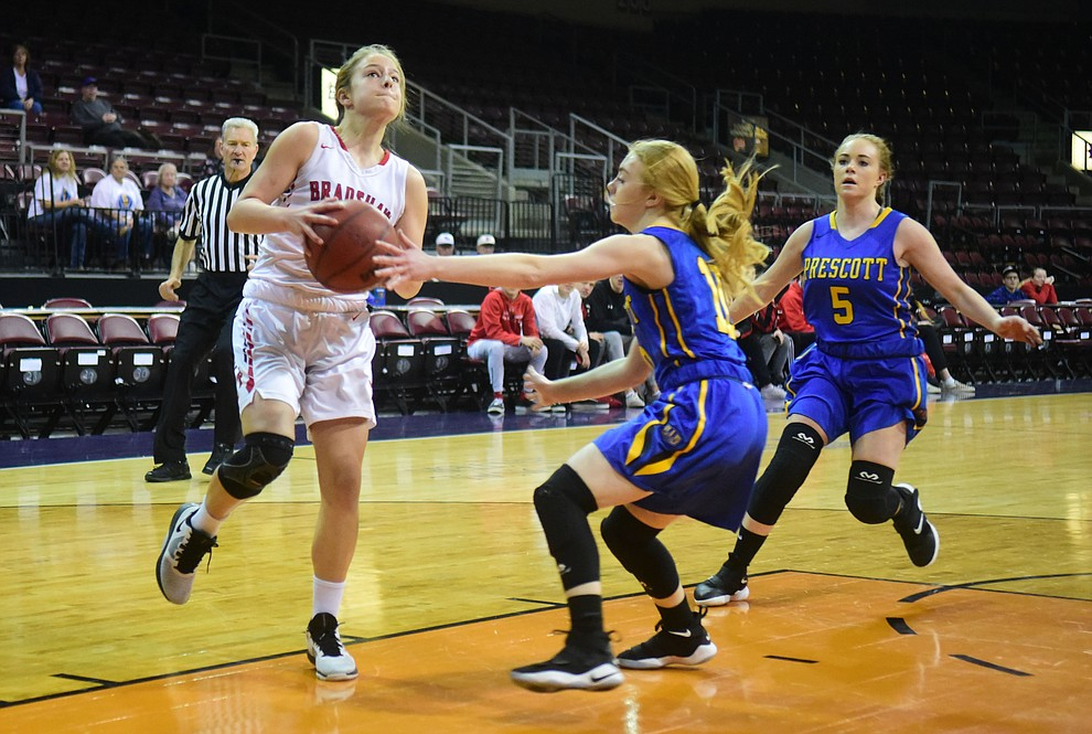 Bradshaw Mountain's Brinlee Kidd drives into the paint as the Bears play cross-town rival Prescott at the Findlay Toyota Center in Prescott Valley Saturday, Feb. 2, 2019. (Les Stukenberg/Courier).