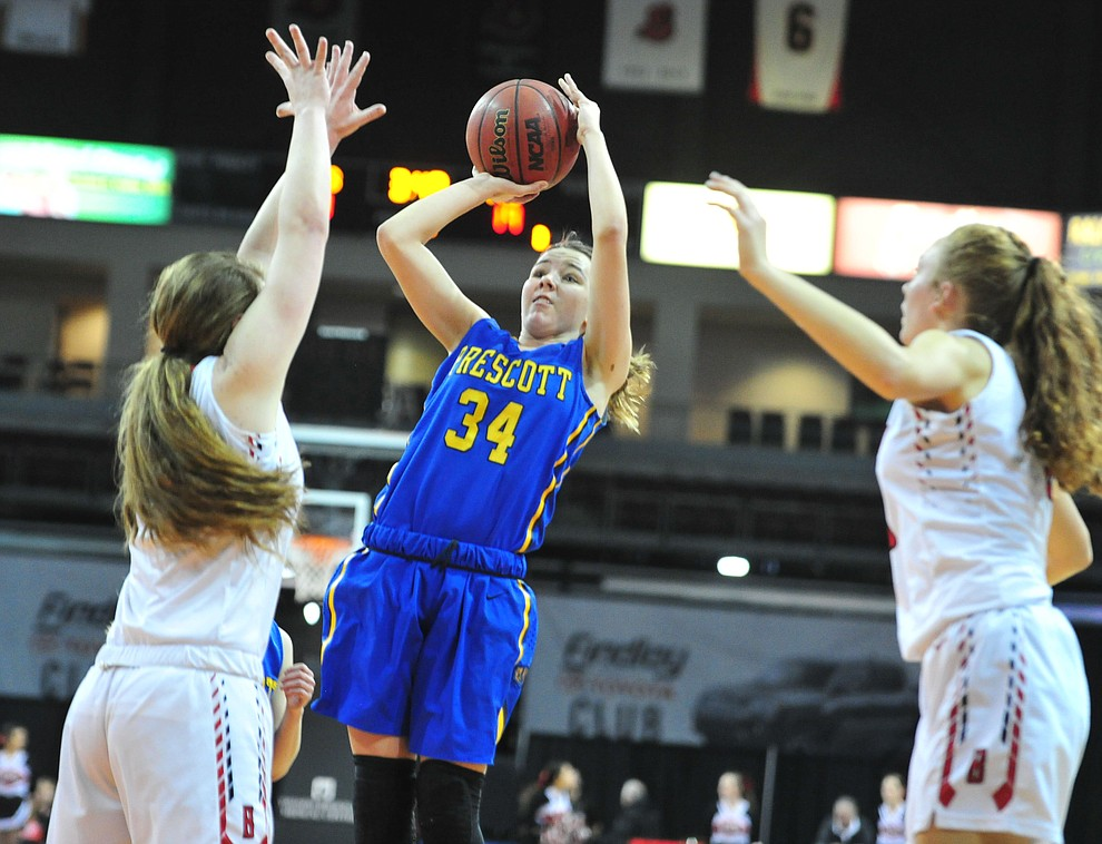 Prescott's Hollie Dalton gets a shot off as the Badgers play cross-town rival Bradshaw Mountain at the Findlay Toyota Center in Prescott Valley Saturday, Feb. 2, 2019. (Les Stukenberg/Courier).