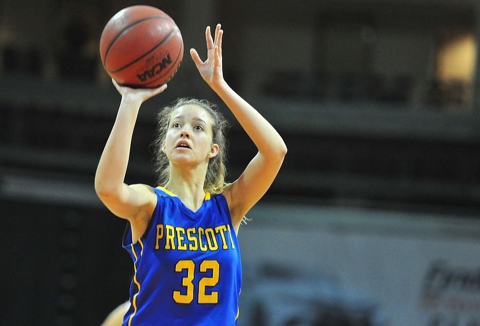 Prescott's Haley Crumpler takes a free-throw as the Badgers play cross-town rival Bradshaw Mountain at the Findlay Toyota Center in Prescott Valley Saturday, Feb. 2, 2019. (Les Stukenberg/Courier).