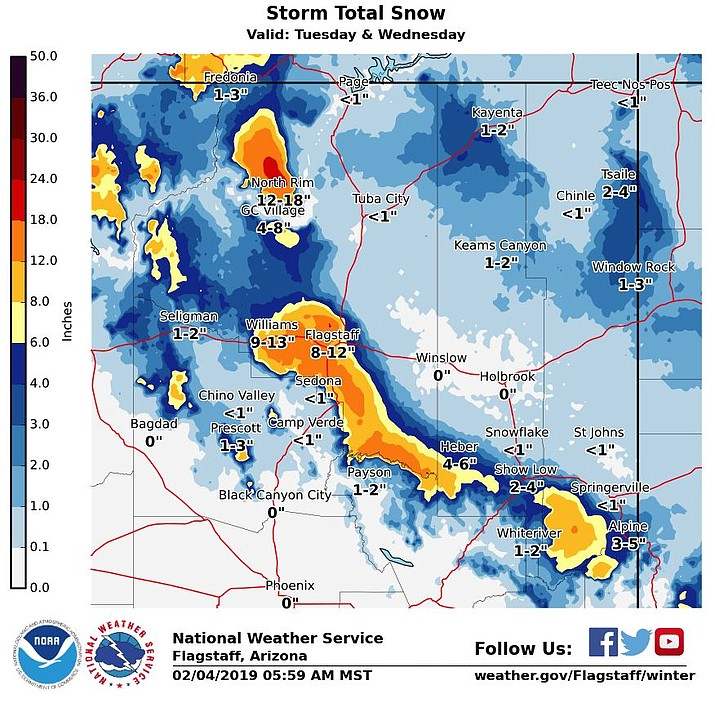 Heavy snow is predicted for northern Arizona this week.
