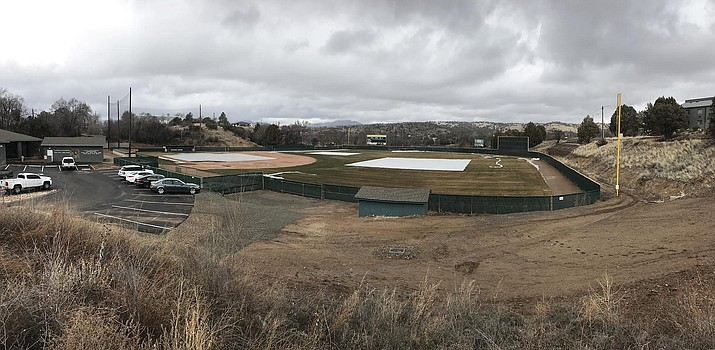 A photo of Roughrider Park, home to the Yavapai College baseball team, shows a tarp on the field Monday, Feb. 4, 2019, in Prescott. Due to field conditions, the baseball team will likely not play a true home game until March. (Les Stukenberg/Courier)