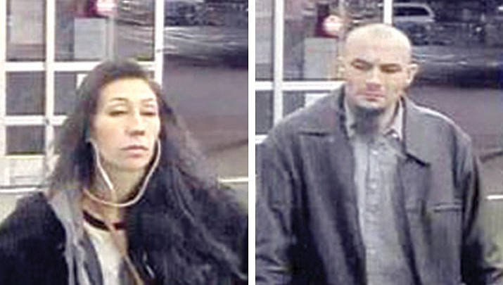 The Prescott Valley Police Department is asking the public to help identify these two individuals. The man is suspected of stealing merchandise from Walmart stores in Prescott, Prescott Valley and Glendale in Jan. The woman is believed to have helped the man commit the Glendale theft on Jan. 19.