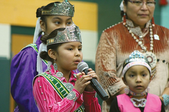 Peyton Hatathlie, Miss Tuba City Elementary School, sings the National Anthem at the 2019 Winter Solstice Cultural Symposium Jan. 23 in Tuba City, Arizona. (Photo/Tuba City Unified School District)