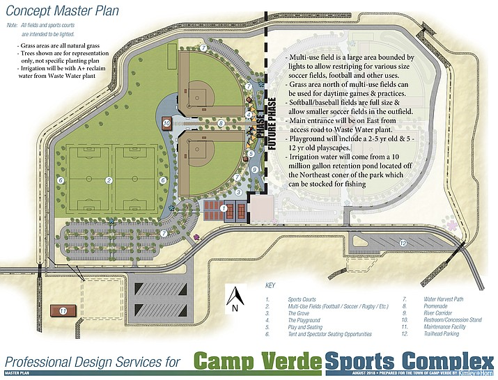 An updated concept master plan for the Camp Verde Sports Complex shows Phase I, which Camp Verde Parks and Recreation Division Manager Mike Marshall said Monday is contingent on bids. VVN/Bill Helm