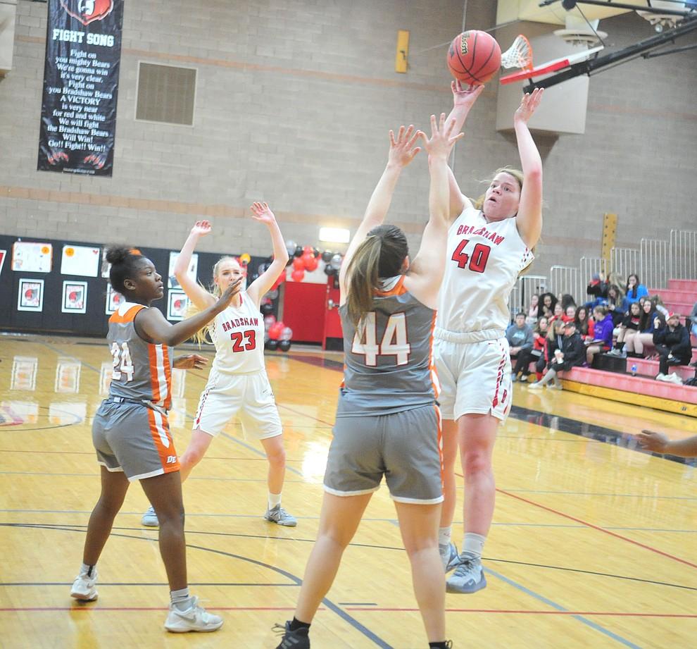 Bradshaw Mountain's Delanie Clark takes the shot as the Bears play Desert Edge in their regular season finale in Prescott Valley Tuesday, Feb. 5, 2019. (Les Stukenberg/Courier).
