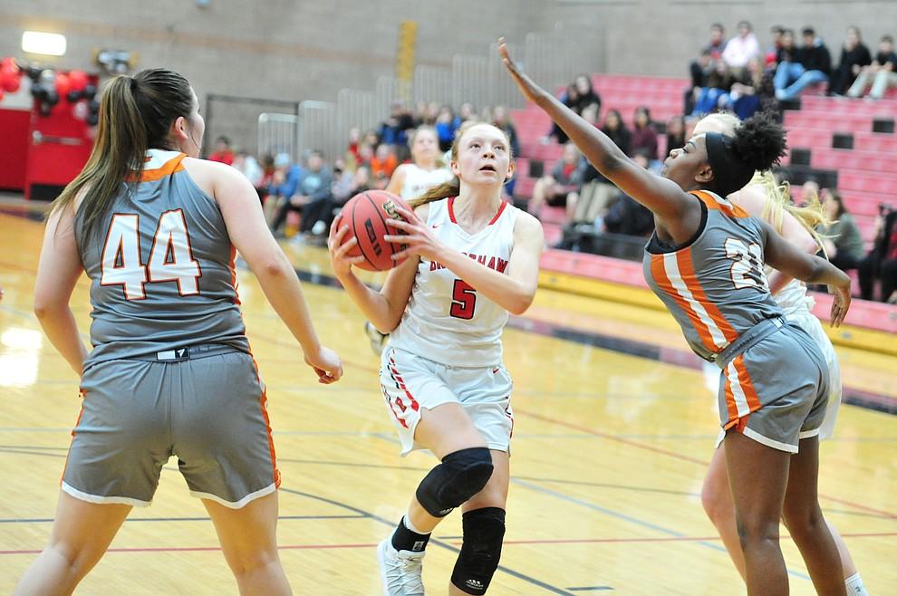 Bradshaw Mountain's Sierra Wooley drives to the hoop as the Bears play Desert Edge in their regular season finale in Prescott Valley Tuesday, Feb. 5, 2019. (Les Stukenberg/Courier).
