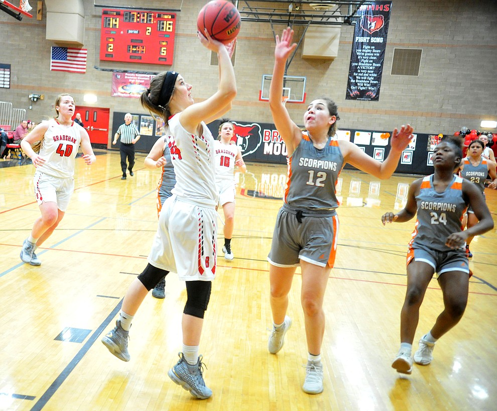 Bradshaw Mountain's Kacie Clinton gets a close shot from the paint as the Bears play Desert Edge in their regular season finale in Prescott Valley Tuesday, Feb. 5, 2019. (Les Stukenberg/Courier).